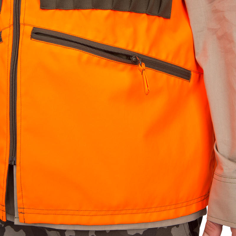 REVERSIBLE HUNTING GILET STEPPE 300 NEON/GREEN