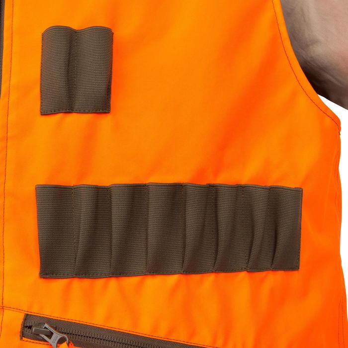 Chaleco Caza Solognac Steppe 300 Reversible Verde Naranaja Fluo