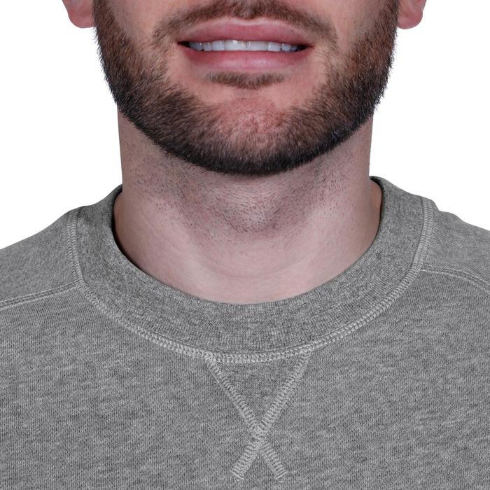 Herensweater met ronde hals voor fitness en pilates gemêleerd grijs