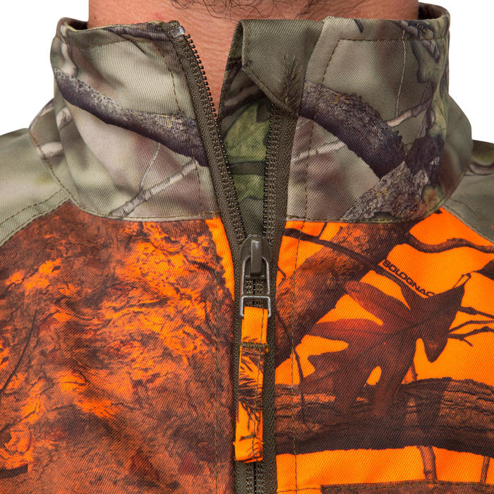 VESTE CHASSE STEPPE 100 CAMOUFLAGE FLUO