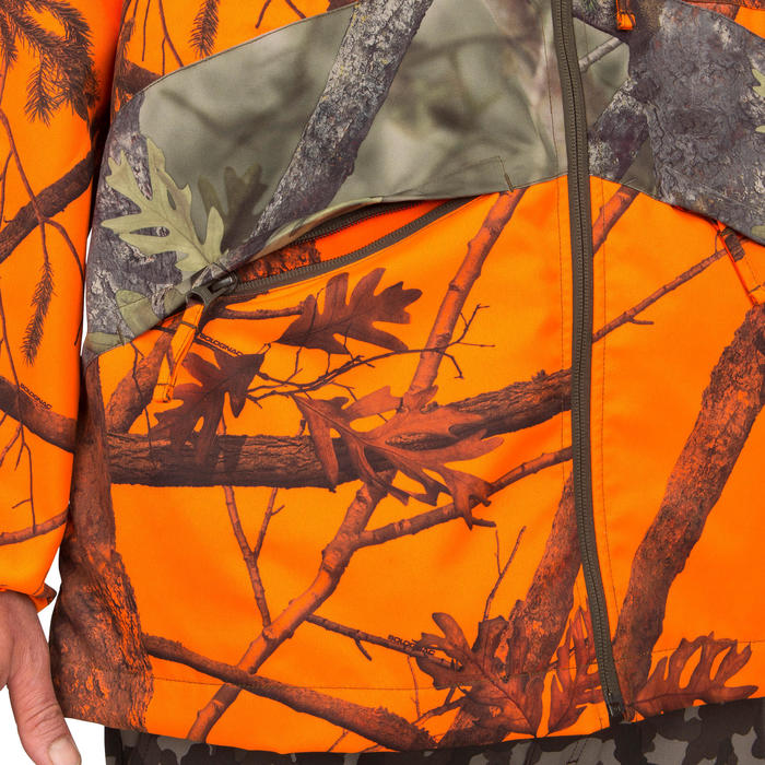 Veste chasse Steppe 100 CAMOUFLAGE FLUO - 69503