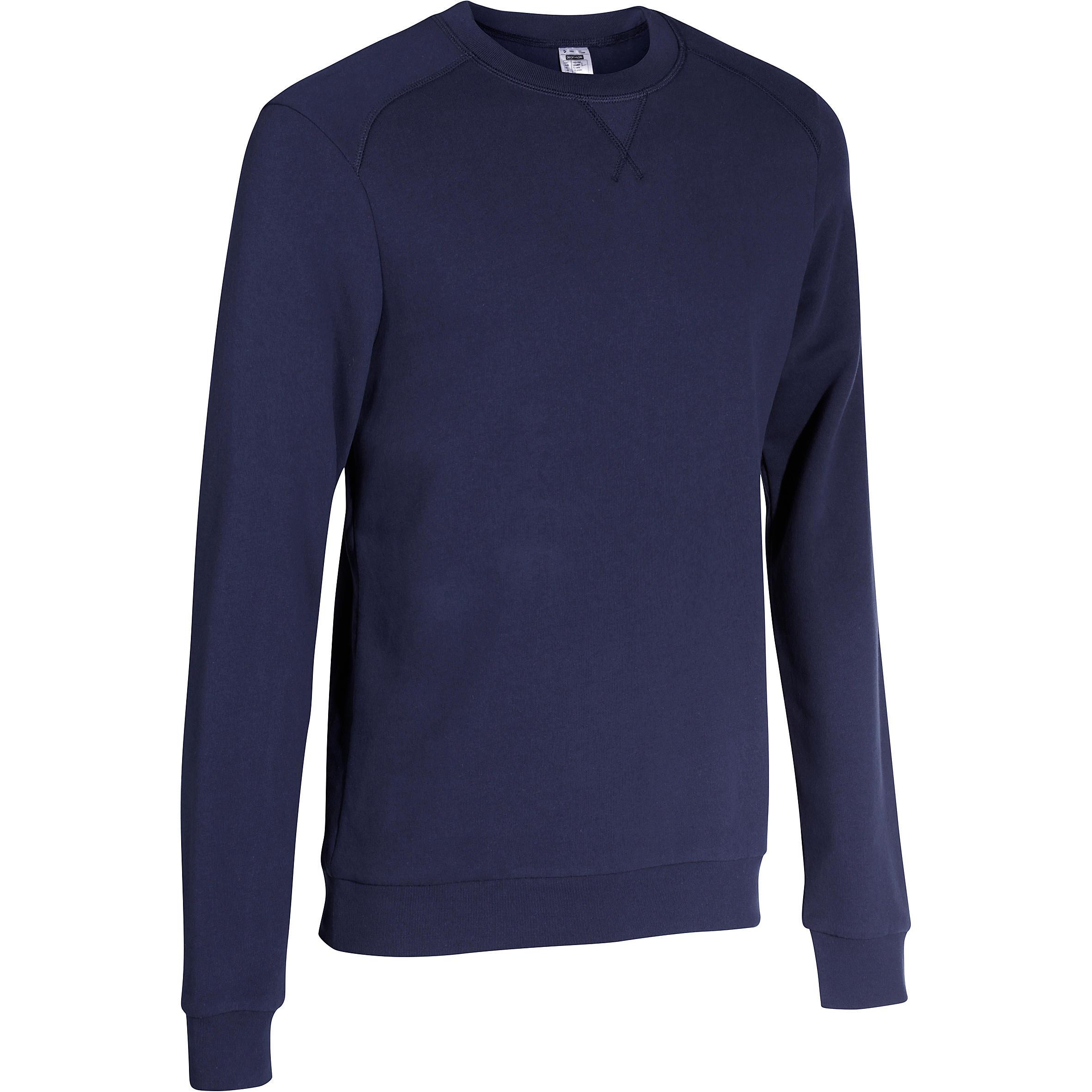 Domyos Herensweater met ronde hals voor fitness en pilates gem�leerd