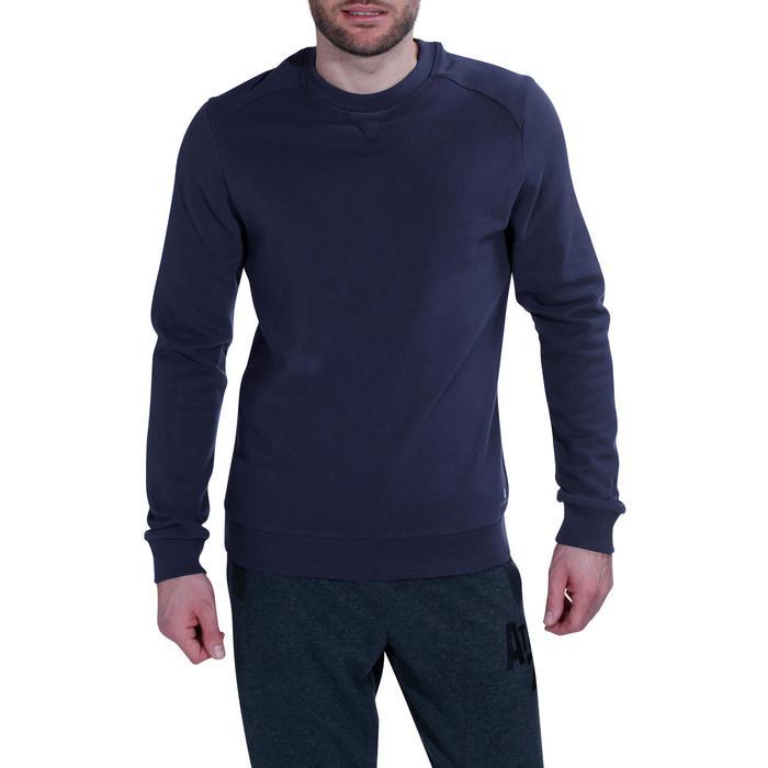 Herensweater met ronde hals voor fitness en pilates marineblauw