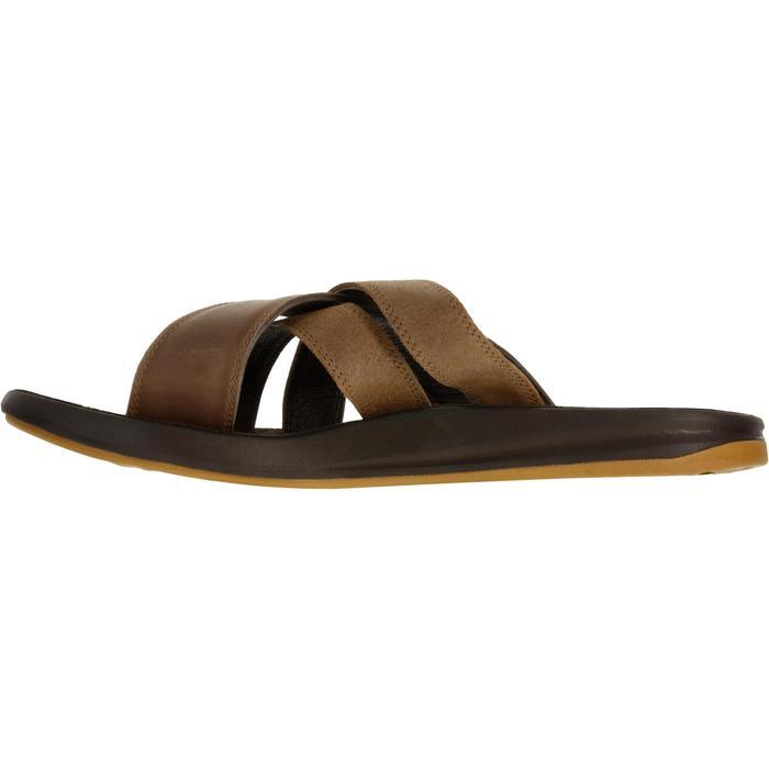 男款皮革拖鞋SLAP 950-棕色