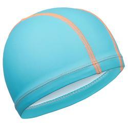 Stoffen badmuts met siliconen coating effen blauw
