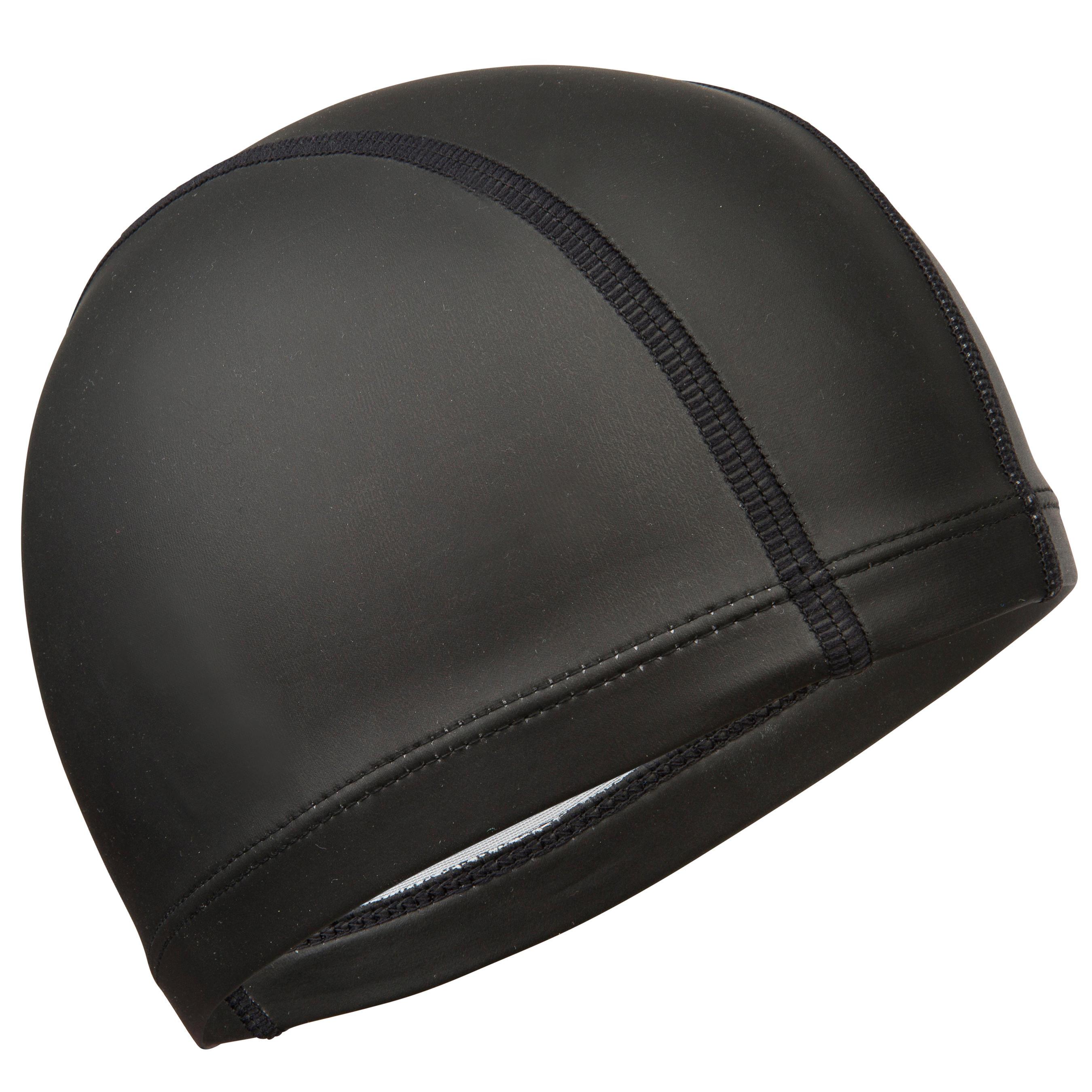 Silicone Plain Mesh Swim Cap - Black