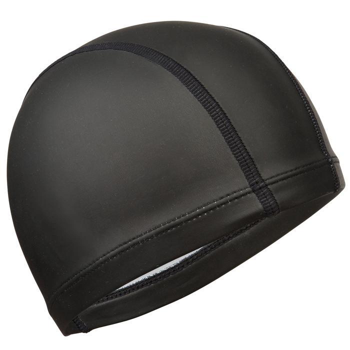 Stoffen badmuts met siliconen coating effen zwart