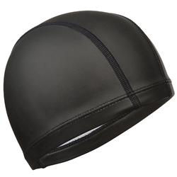 Silicone Plain Mesh Swim Cap - Black