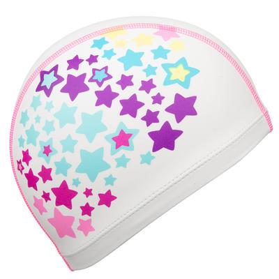 قبعة سباحة شبكية من السيليكون مقاس S - شكل نجوم- بيضاء