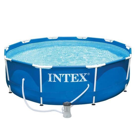Rond zwembad met buizenframe, diameter 305 cm + filtersysteem - 697692