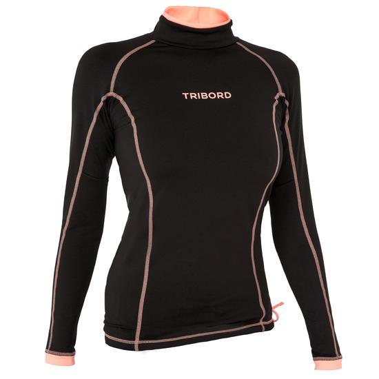 Thermische en uv-werende rashguard 900 met lange mouwen voor dames zwart - 698144
