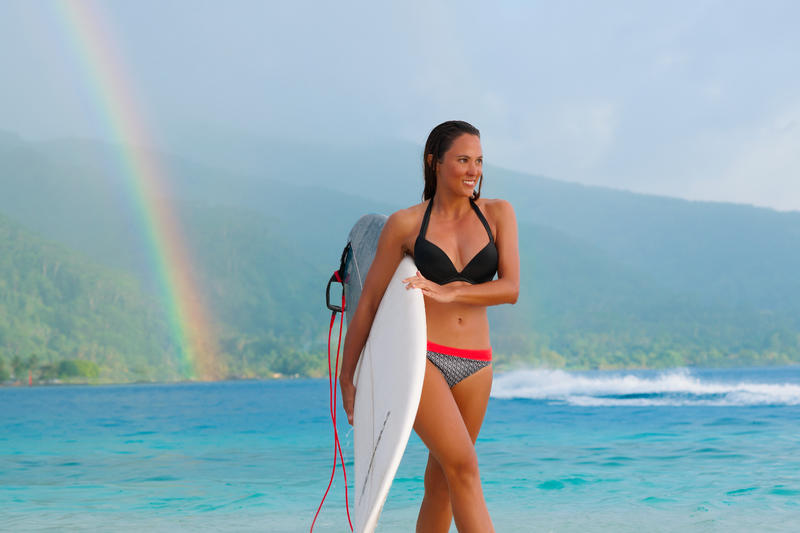 Top de bikini mujer forma push up con copas fijas ELENA NEGRO