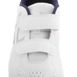 兒童款抓地網球鞋TS100-白色/藍色