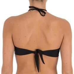 Sujetador de bikini mujer forma banda LAETI negro con copas fijas