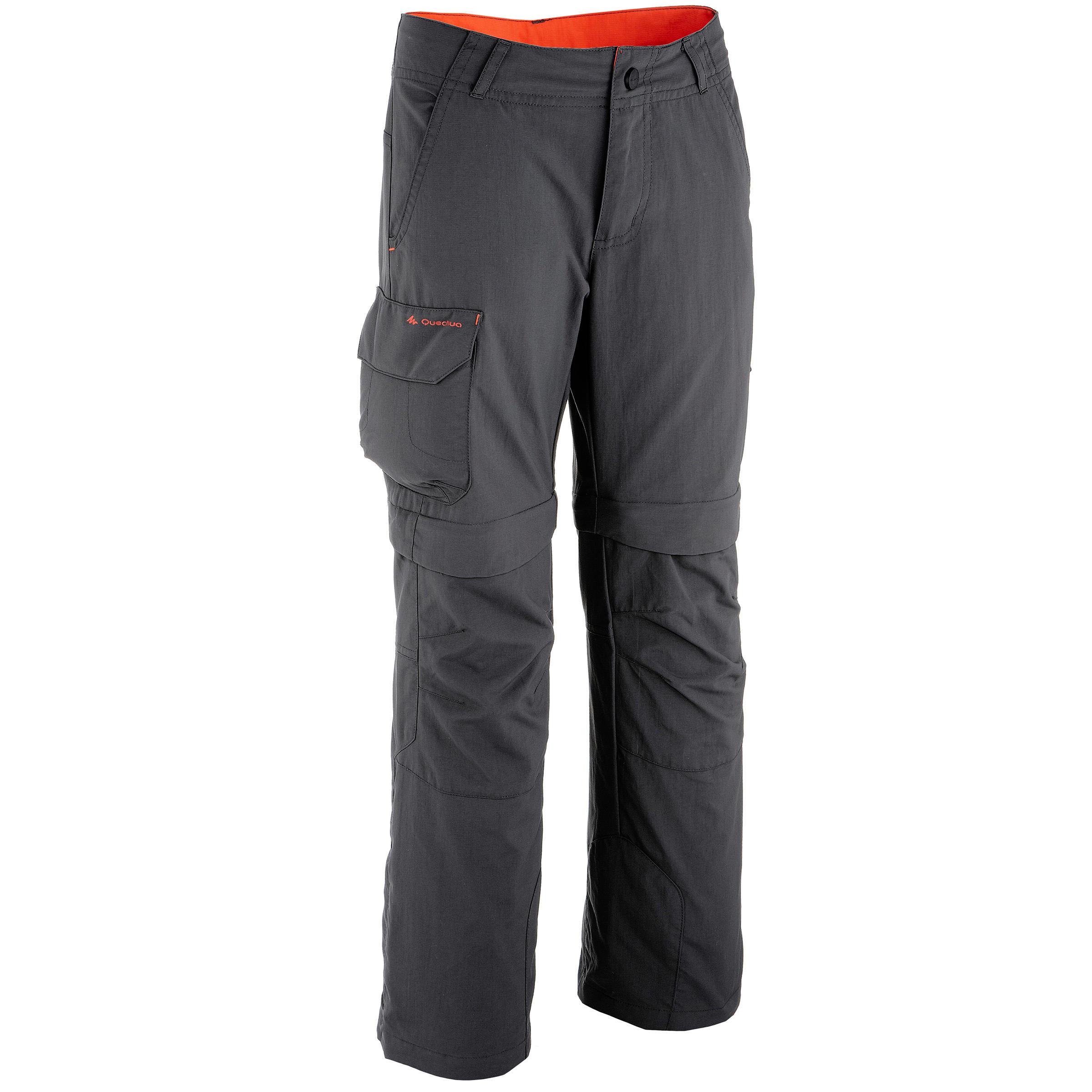 Hike 900 Boy's Black Hiking Modular Trousers