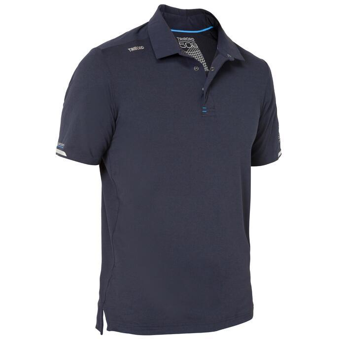 Men's short-sleeved regatta race polo shirt dark blue
