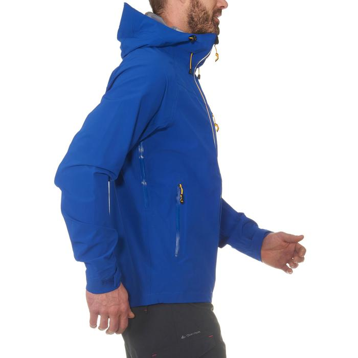 MH500 Men's Waterproof Mountain Hiking Rain Jacket - Blue Yellow