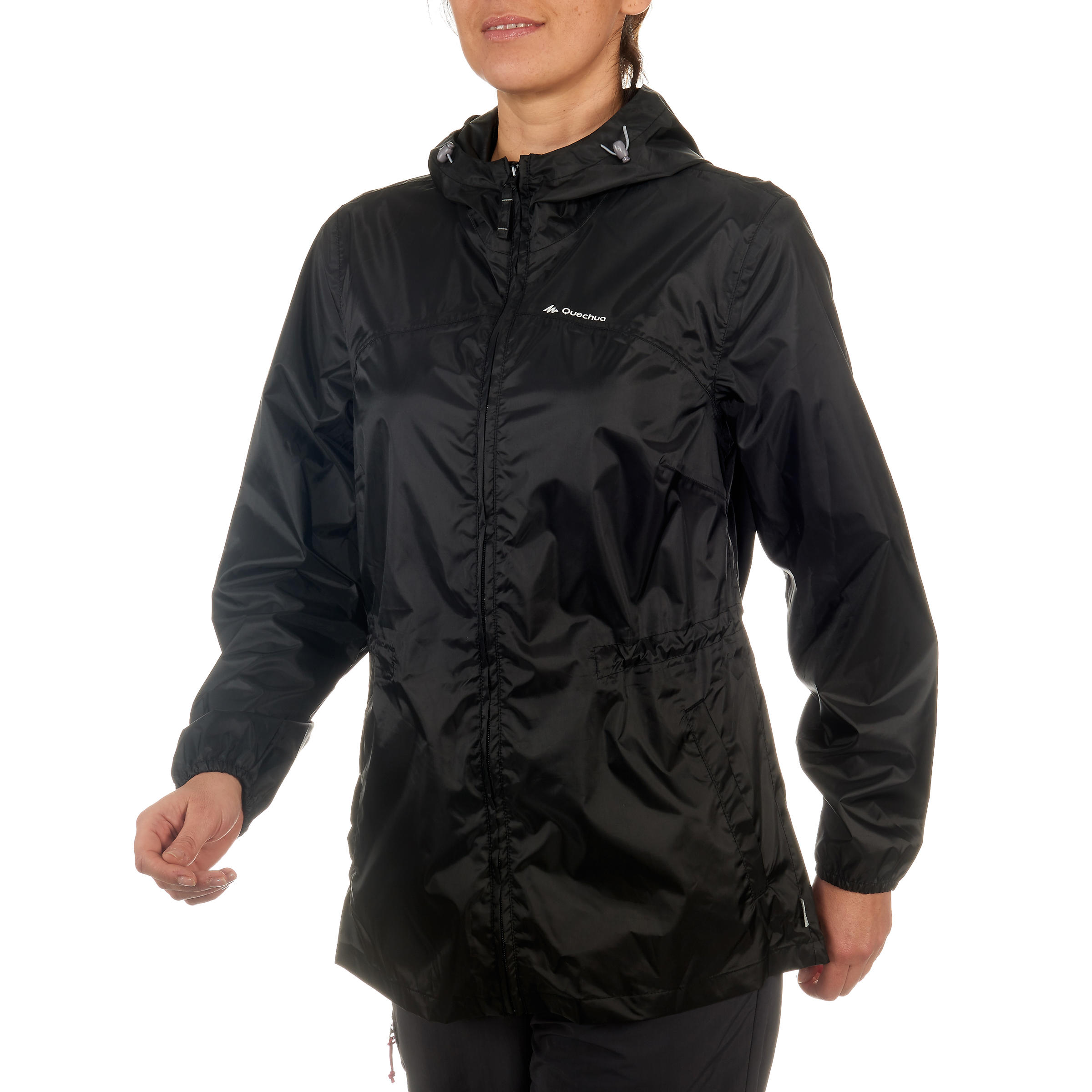 Raincut Zip, women's black waterproof nature hiking jacket