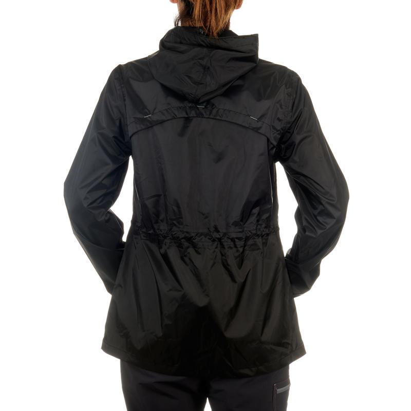 Chaqueta Impermeable excursión naturaleza mujer Raincut Cierre negra