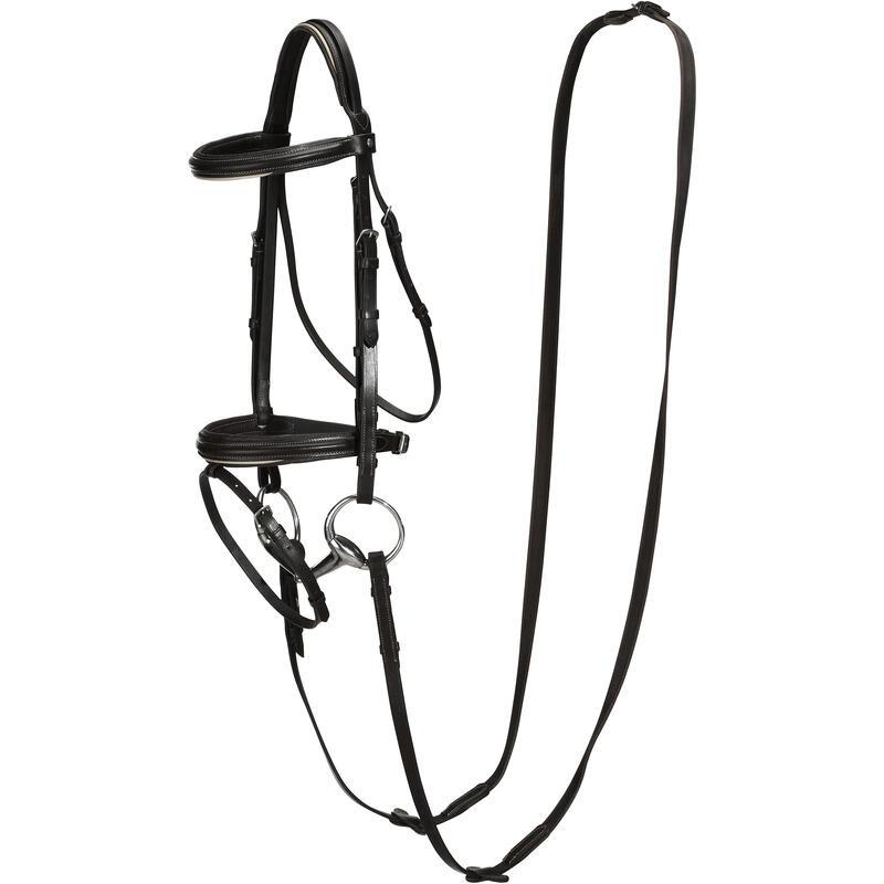 Leren hoofdstel en teugels voor paard/pony EDIMBURGH 500 Franse neusriem zwart