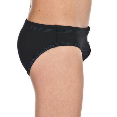 BOYS' SWIMMING TRUNKS 100 BASIC - BLACK