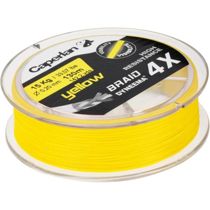 Gevlochten vislijn Braid 4 X geel 130 m
