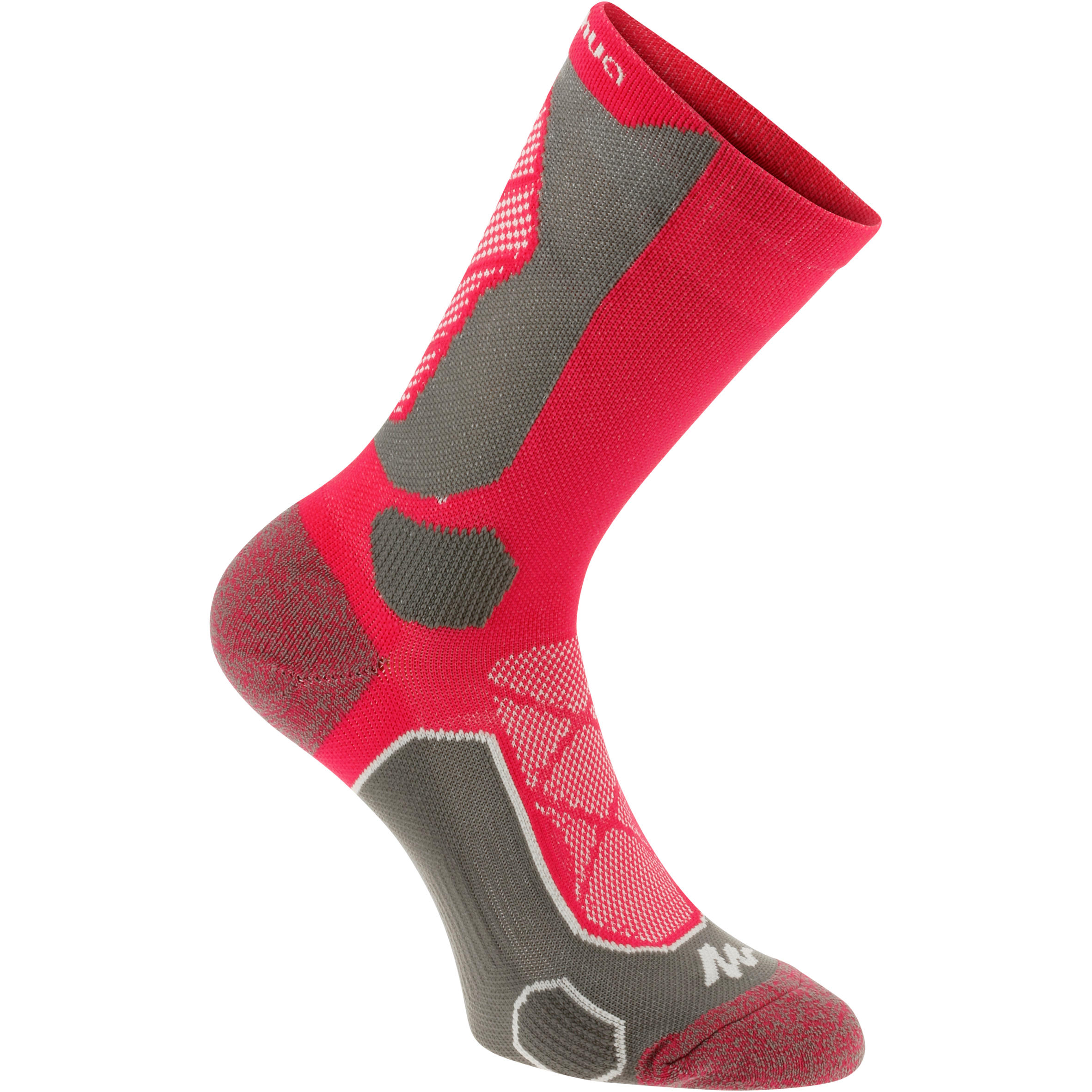 High Cut Mountain Hiking Socks. Forclaz 500 2 Pairs - Pink/Grey