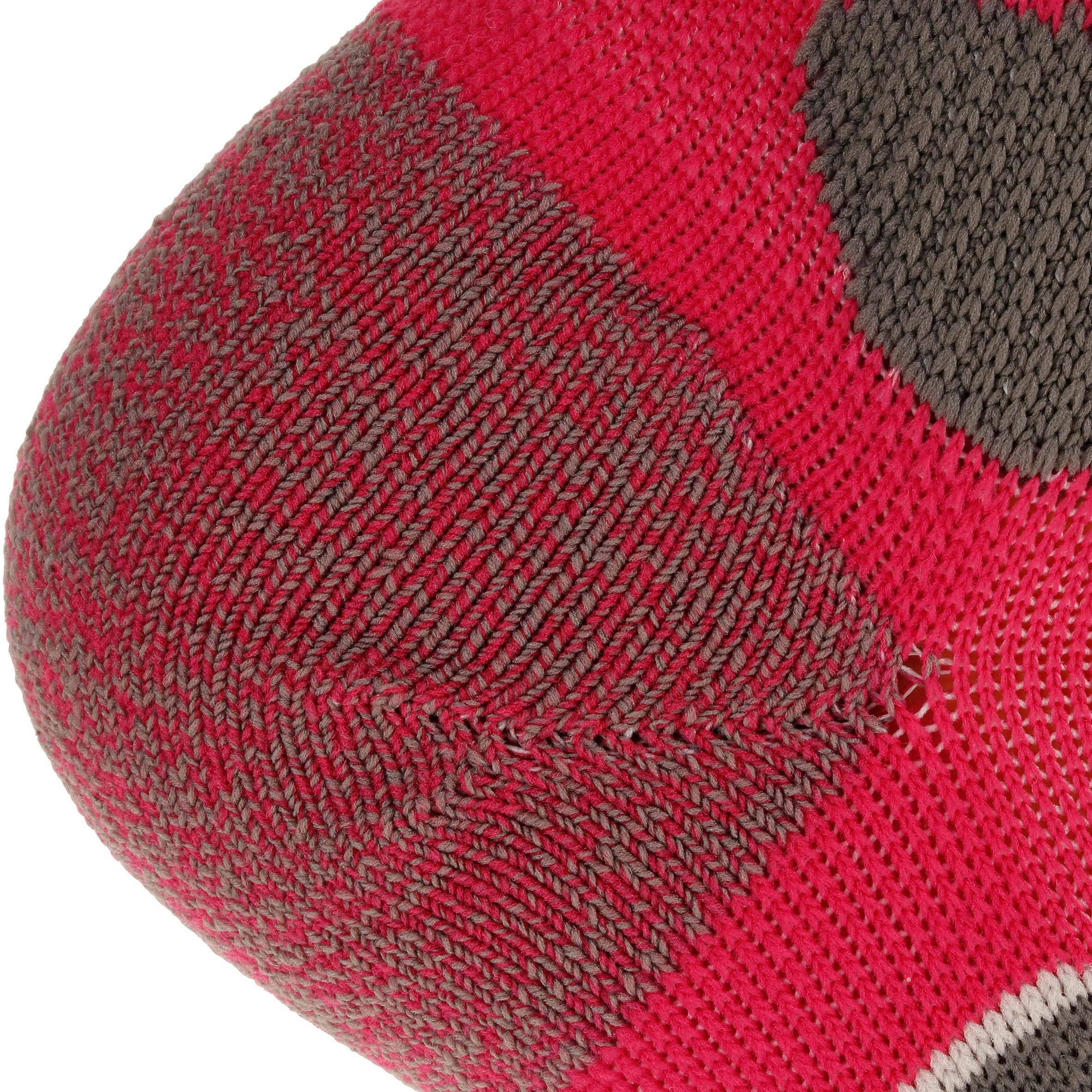 High Cut Mountain Hiking Socks. Forclaz 500 2 Pairs - Pink/Grey