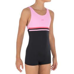 Shortybadpak voor meisjes, voor zwemmen, Loran zwart/roze