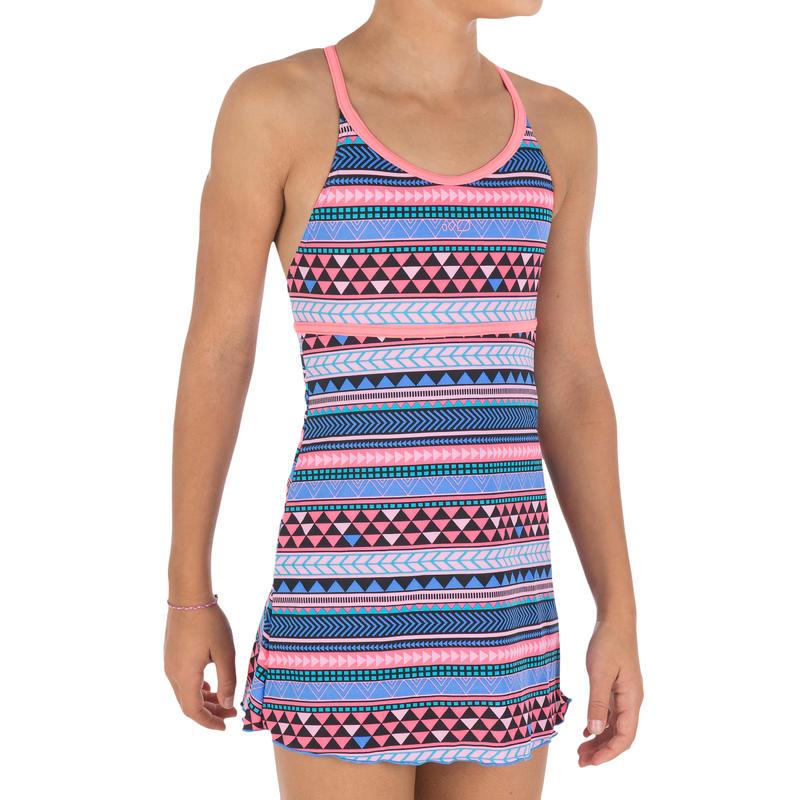 Riana girls' skirted one-piece swimsuit - allknit blue