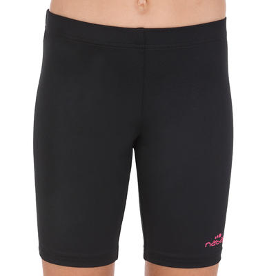 Girls' Long Shorty Swimsuit Bottoms - Black