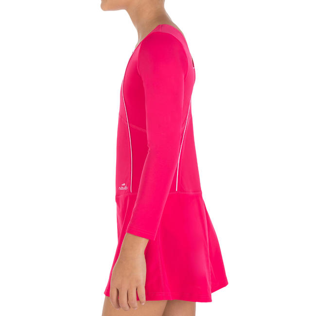 Girl swimming costume Audrey sleeve- Pink