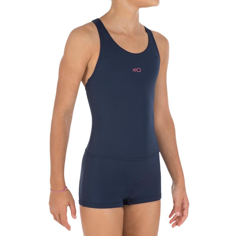 Leony Girls' One-Piece Legsuit Swimsuit - Blue
