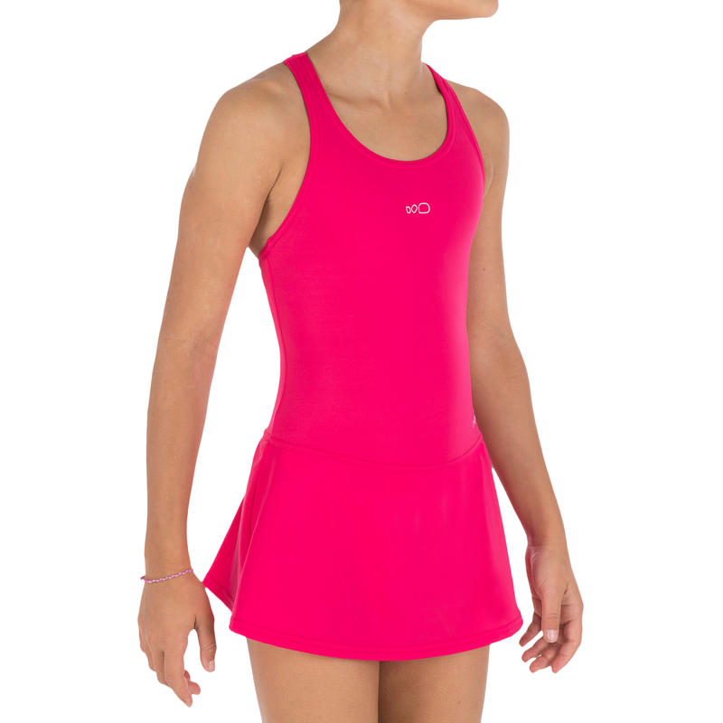 Girl Swimming Costume sleeveless with skirt - pink