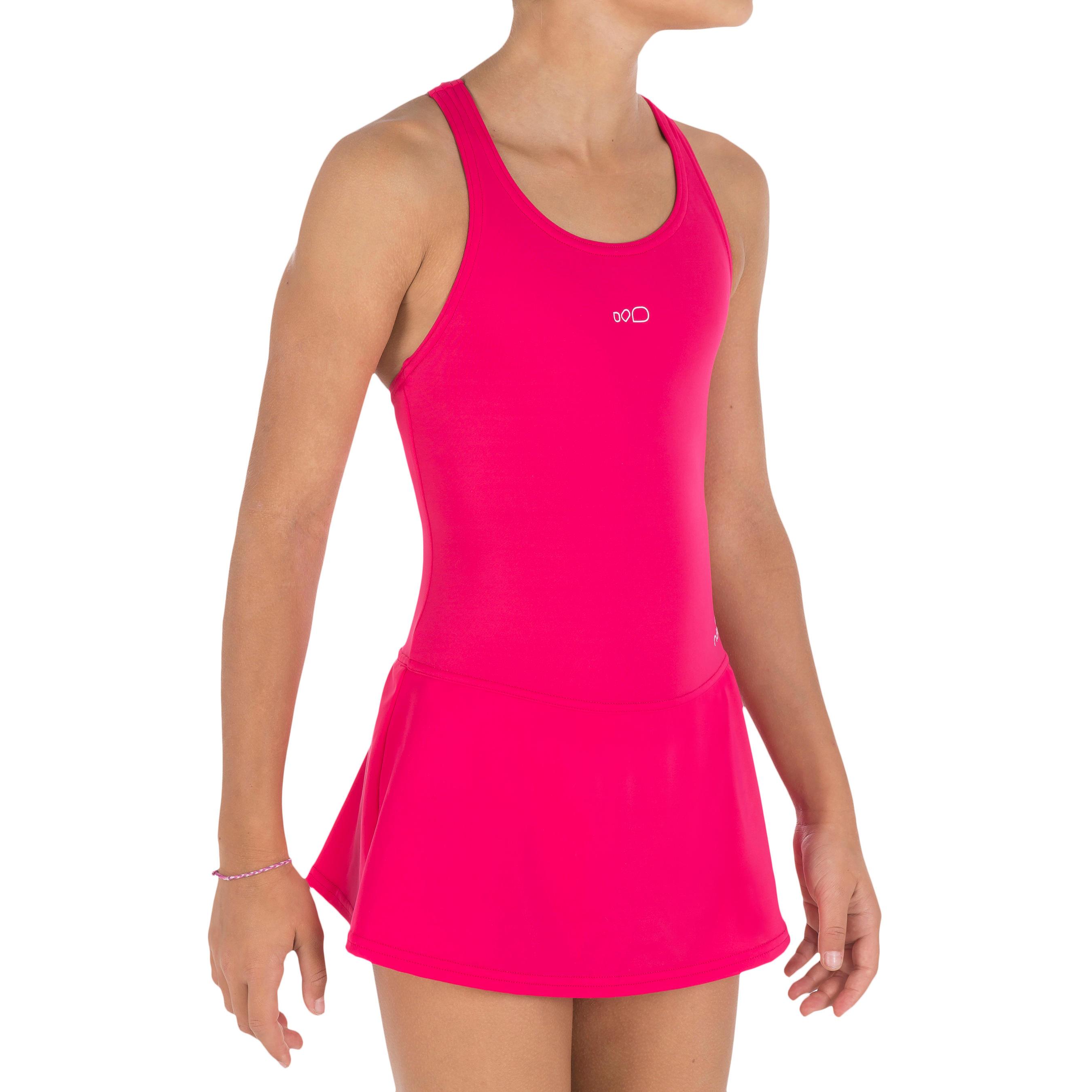 Maillot de bain de natation fille une pièce Leony skirt rose