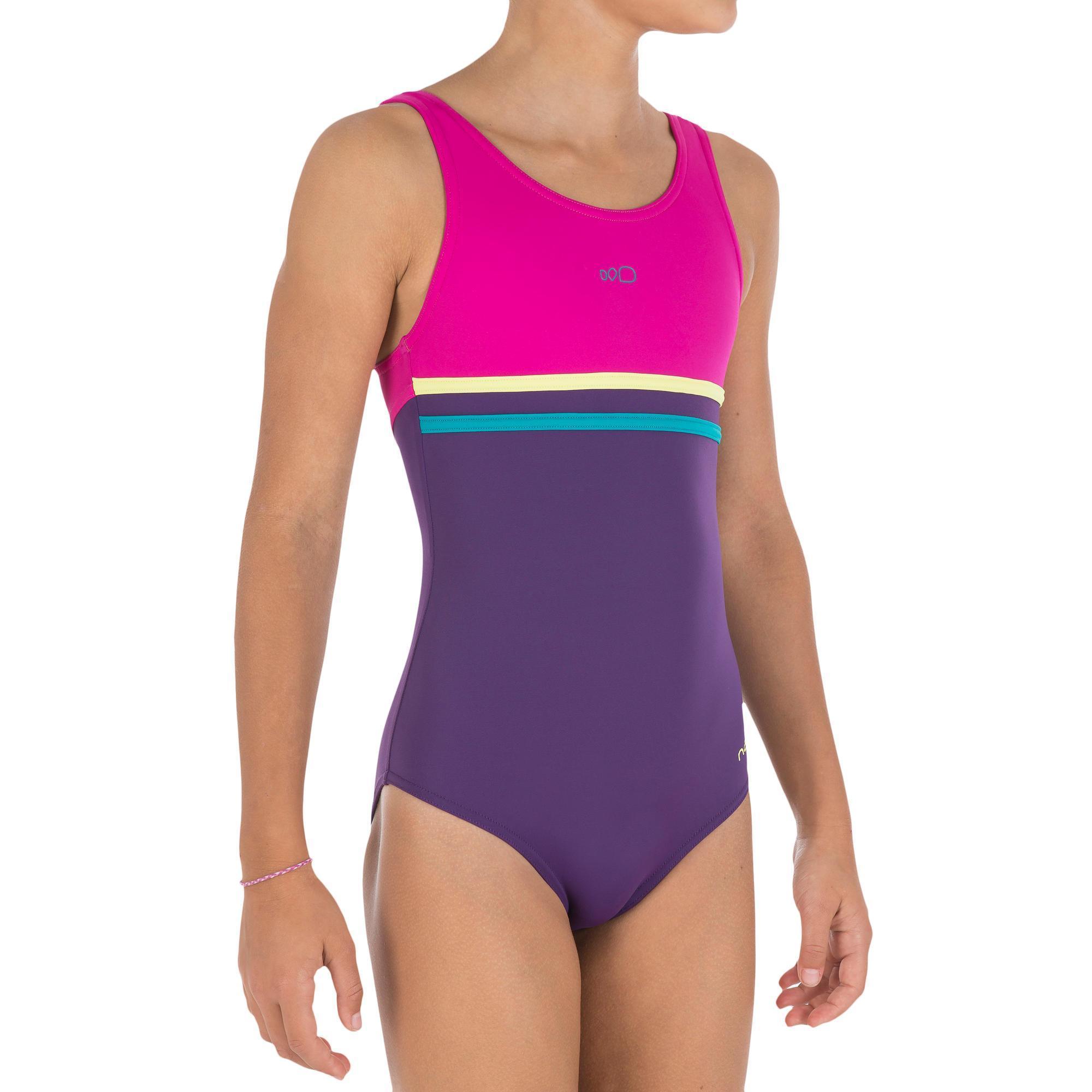 Loran Girls One Piece Swimsuit Purple Pink Nabaiji