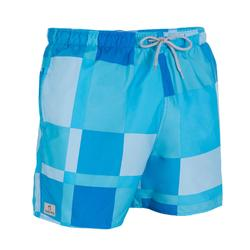 Hendaia Cube Men's Short Swim Shorts - Blue