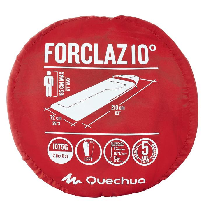 Schlafsack Camping Forclaz 10°C links rot