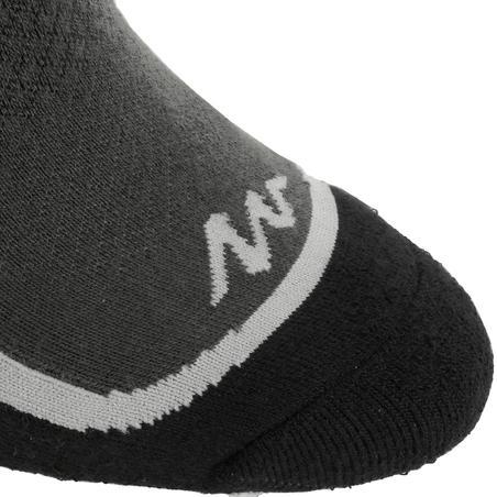 Forclaz 100 adult high top hiking socks 2 pairs - black/orange