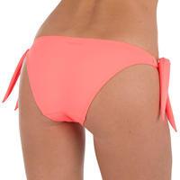 Bikini mujer anudada corte pierna muy alto SABI Rojo coral fluorescente