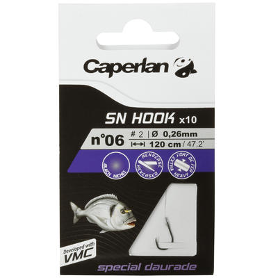 SEABREAM spade-end hooks to line for sea fishing