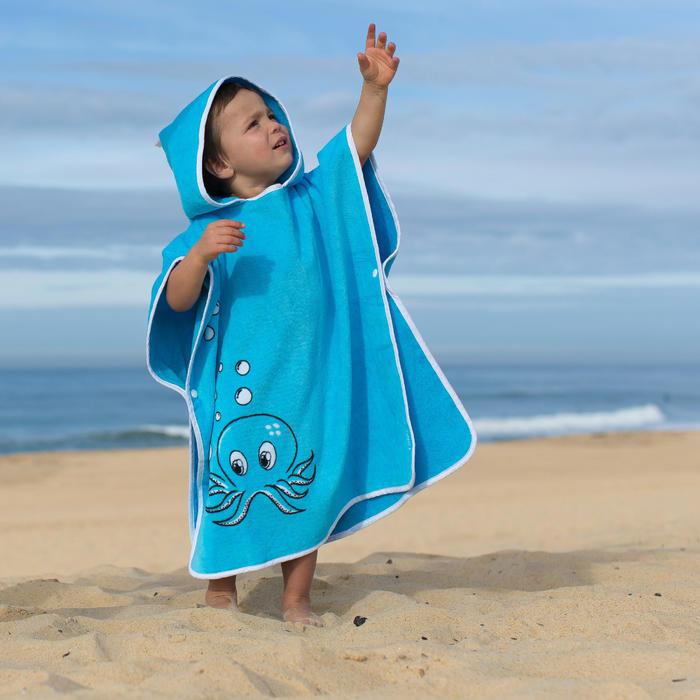Poncho Toalla Playa Surf Olaian Ice Niño Azul Cambiador