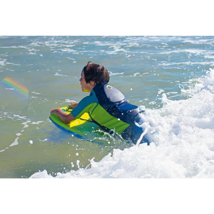 """Bodyboard 100 vert enfant 6-12 ans 35"""" avec semelle de glisse et leash"""
