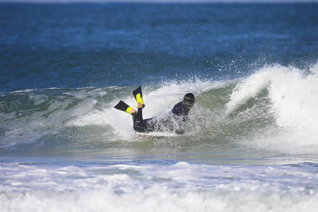 500 Bodyboard Fins with Leash - Black Yellow