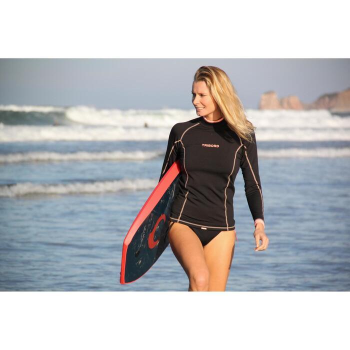 Tee shirt anti UV surf top 900 Thermique polaire Manches Longues Femme Noir