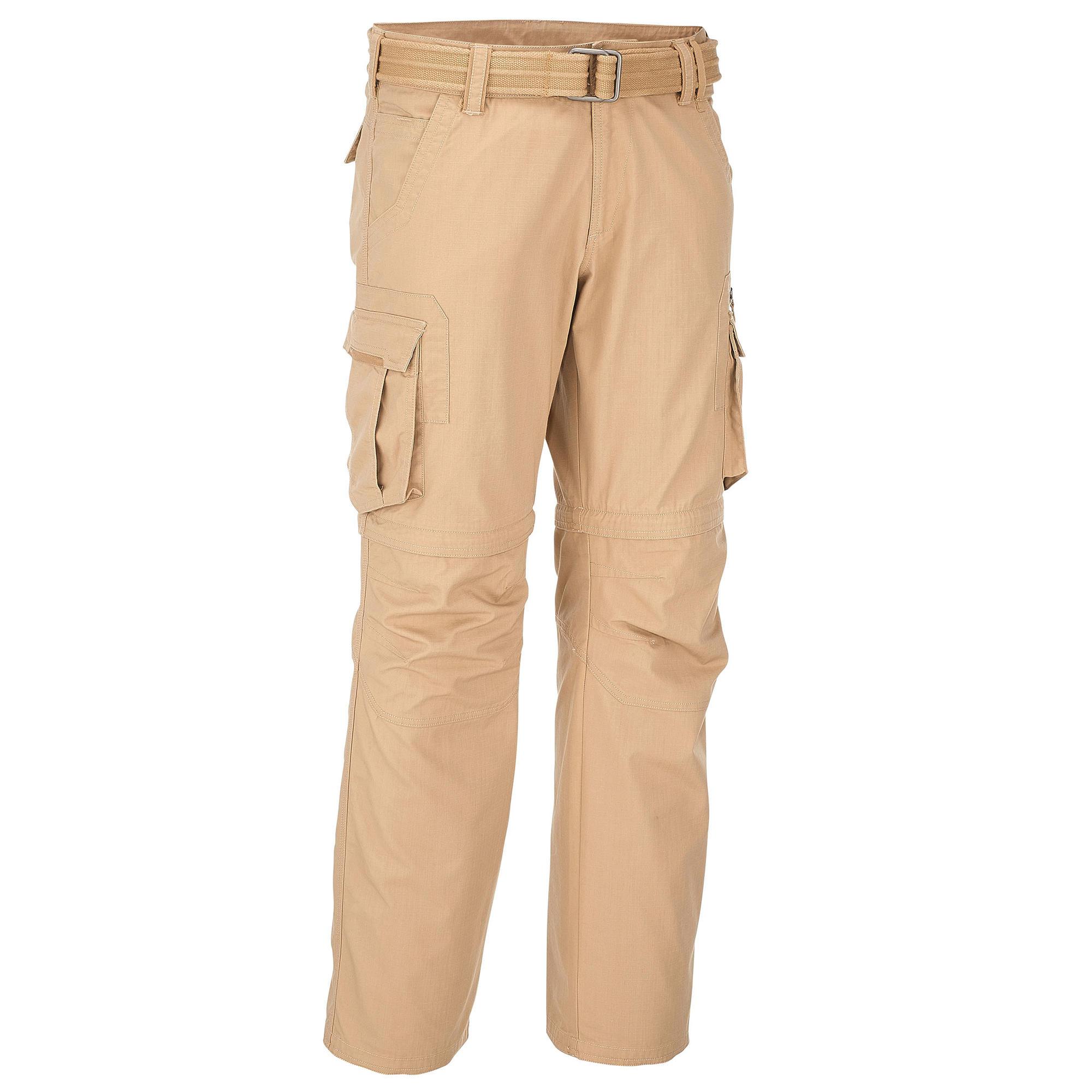 travel 100 mens zipoff trousers beige quechua