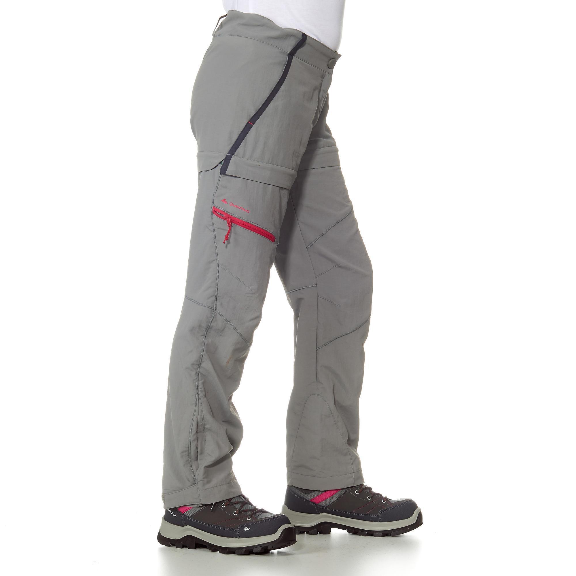 pantalon de randonn e modulable fille hike 900 gris quechua. Black Bedroom Furniture Sets. Home Design Ideas