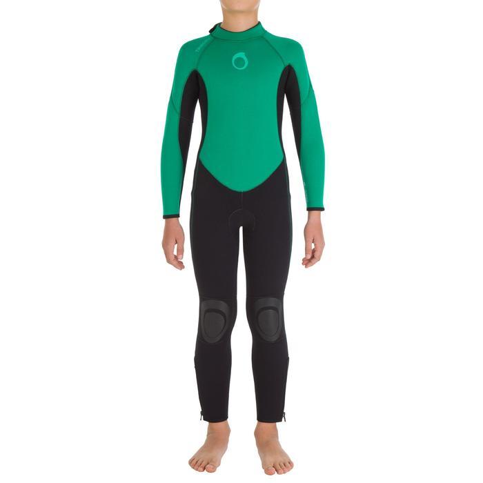 Traje Neopreno Largo Surf Olaian Niño 4/3 mm Verde Negro