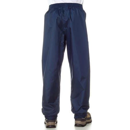 Kids' Waterproof Hiking Over Trousers - MH100 Aged 7-15 - Navy Blue