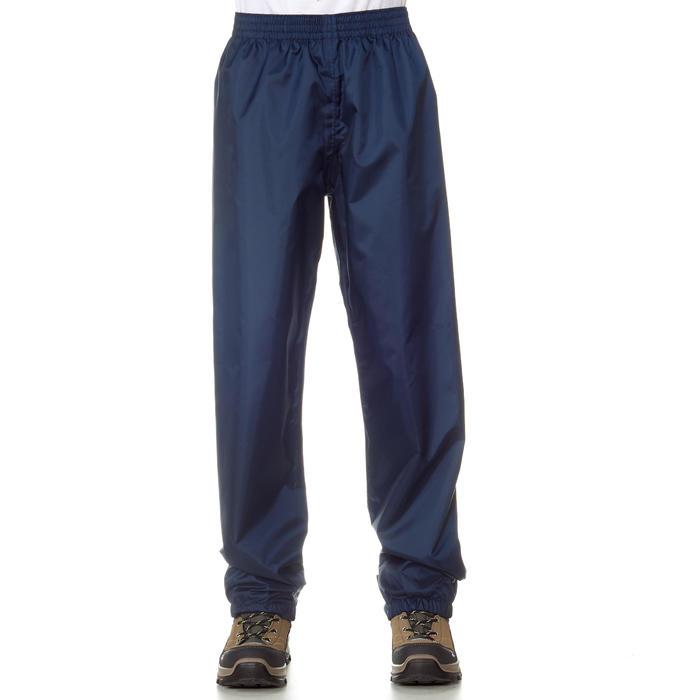 Sur-pantalon imperméable de randonnée enfant MH100 bleu marine 2 AU 6 ANS